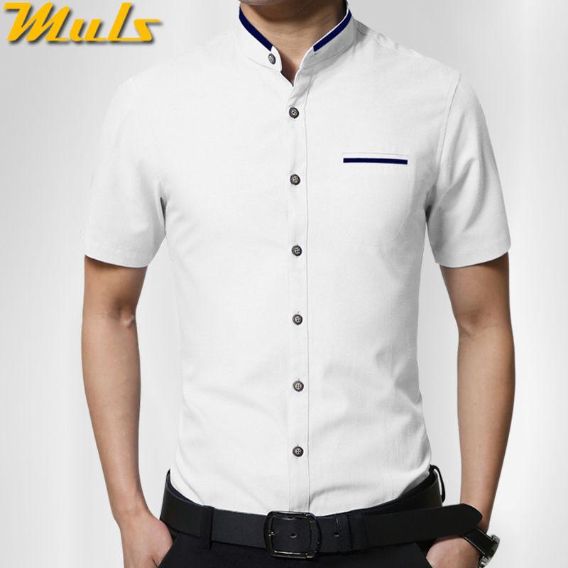 Men Shirt Short Sleeve 2016 Summer New Arrival Male Solid Mandarin Collar Business Iron-free Casual Cotton Dress Shirts 5XL 1256(China (Mainland))