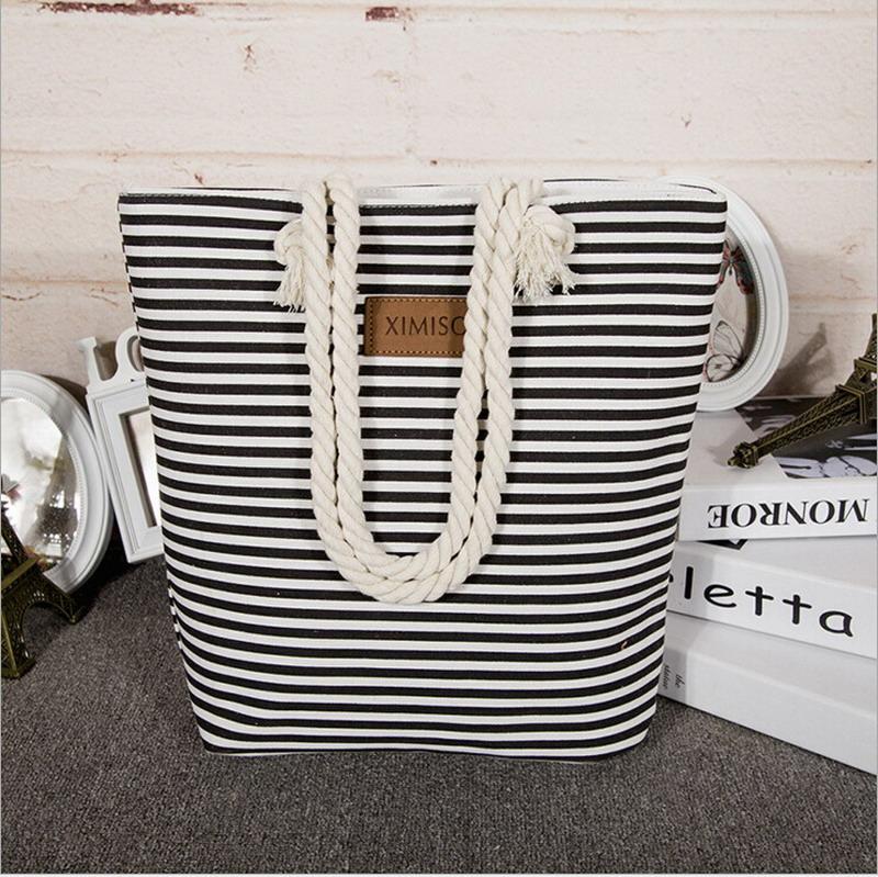 Girl Leisure Summer Canvas Shopper Shoulder Bag Striped Beach Bags Big Capacity Tote Women Ladies Casual Shopping Handbag Bolsa(China (Mainland))
