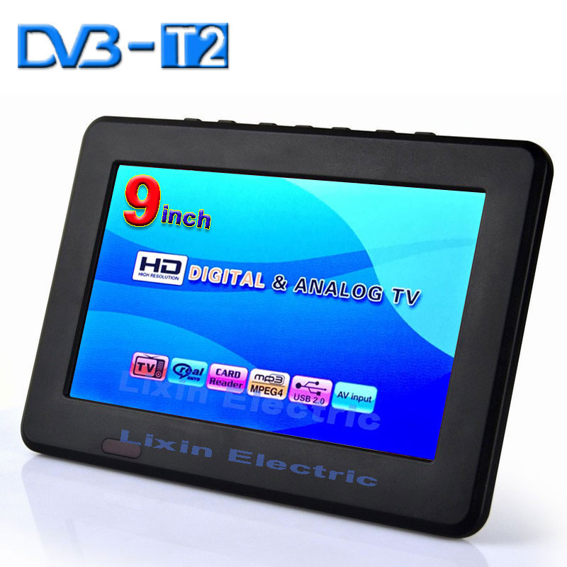 2016 New 9 inch DVB-T2/DVB-T Digital And Analog Mini Led HD Portable TV All in 1 Support USB record Television program(China (Mainland))