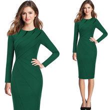 Vfemage женское осенне-зимнее элегантное облегающее платье в стиле пэчворк на каждый день для работы, бизнеса, офиса, вечерние облегающее плать...(China)