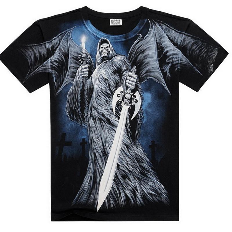 Men 3d digital printed large t shirt full demon pattern for Digital printed t shirts