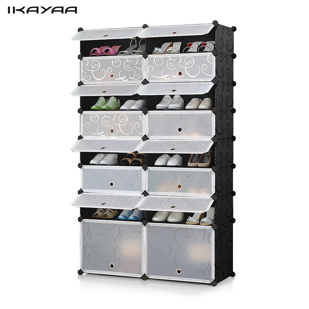 iKayaa US Stock 32 Pairs Cube Plastic Shoes Rack 16 Grids Shoes Storage Cabinet Organizer Waterproof Cloth Closet(China (Mainland))