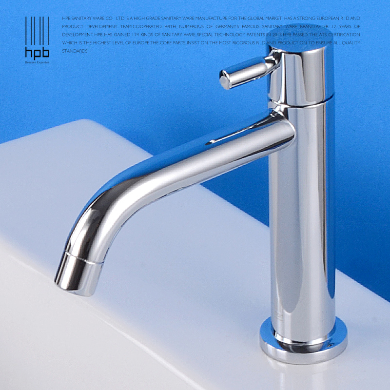 HPB hot sale Copper Sink Chrome Single Hole Bathroom Faucet single cold water tap Basin Faucet torneira banheiro HP9004 C(China (Mainland))