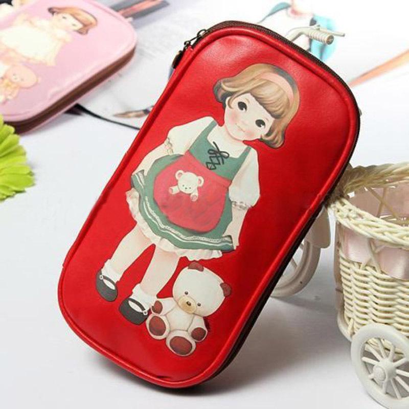 1 PCS Women Girls Kawaii Stationery Girl Cute Zipper Pen Bag Cartoon Doll Makeup Pencil Case Cosmetic Bag(China (Mainland))