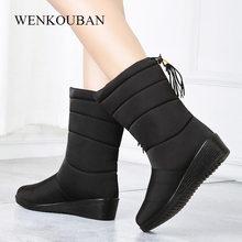 Wasserdichte Winter Stiefel Weibliche Schuhe Mid-Kalb Unten Stiefel Frauen Warme Damen Schnee Bootie Keil Gummi Plüsch Botas Mujer 2019(China)