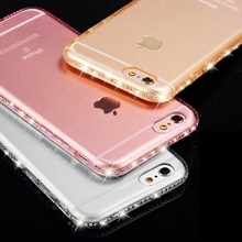 Clear Case for iphone 6S 7 Plus 5 5S Crystal Rhinestone Soft TPU Transparent Luxury Silicon for iphone 6 7 plus Cover Accessorie