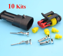 Manufacturer 10 kit 2 Pin Way Sealed Waterproof Electrical Wire Auto Connector 2P Plug Set(China (Mainland))