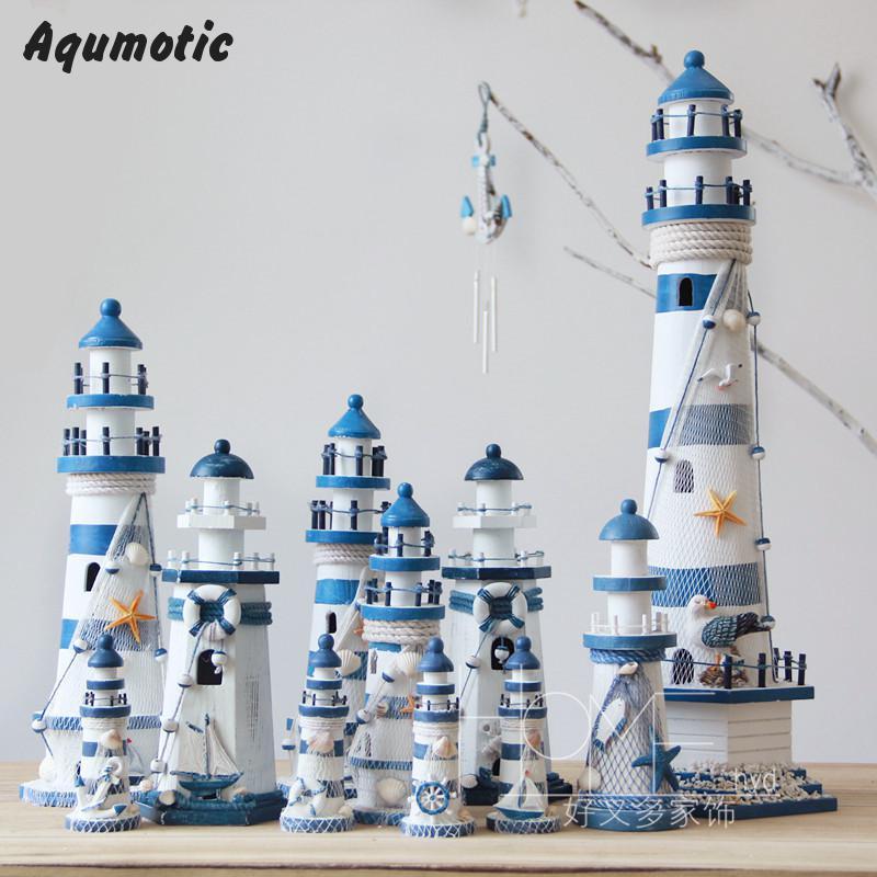 Aqumotic Wooden Lighthouse Model Kit Mediterrane Craft Send Holiday Gift model lighthouse Fishing Net Shell Decoration cardboard(China (Mainland))
