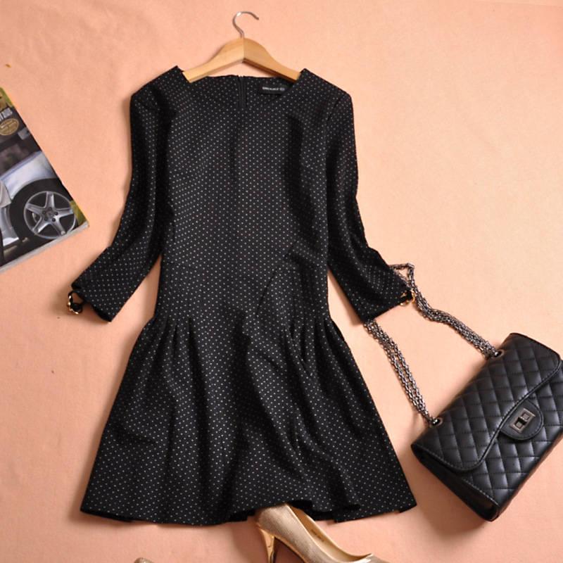Free shipping 2016 Spring new arrivals o neck knee length three quarter sleeve Slim women a line dress small bit(China (Mainland))