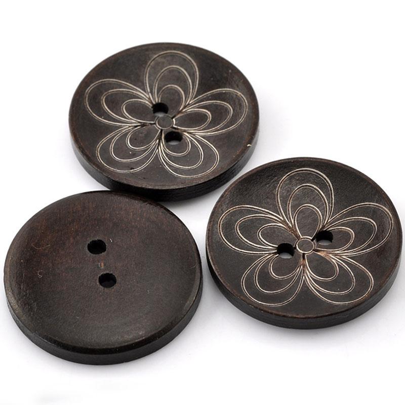 10pcs 30mm wooden button women children flower round wood for Decorative pins for crafts