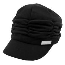 SZS Hot Women Girl Fashion Design Drape Layers Beanie Rib Hat Brim Visor Cap FFH010BLK Black(China (Mainland))