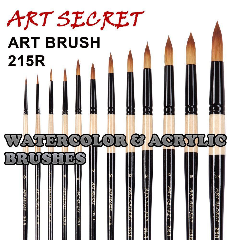 high quality paint art brushes acrylic watercolor brush 215R two tones taklon hair wooden handle