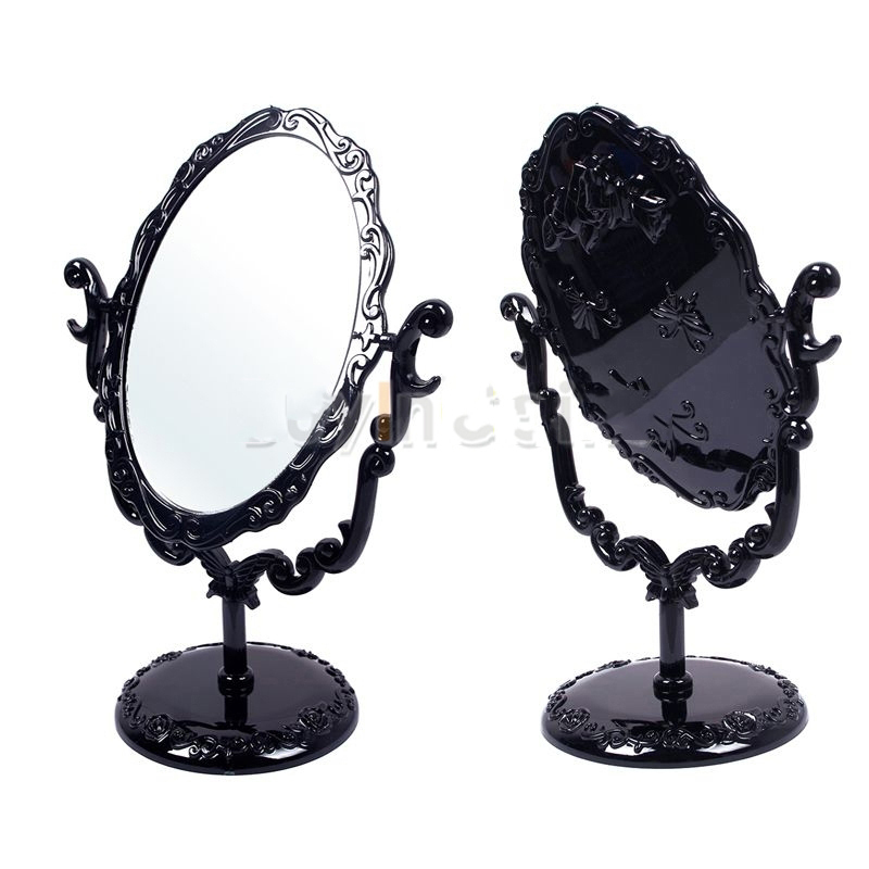 MiniSeller Super deals Desktop Rotatable Gothic Small Size Rose Makeup Stand Mirror Black Butterfly Effectively!(China (Mainland))