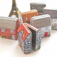 Mini Vintage House Tinplate Shape Storage Tin Box Coin Bag Jewelry Box Lovely Print Storage Box Girls 5.5*4*6CM 6design mix pack