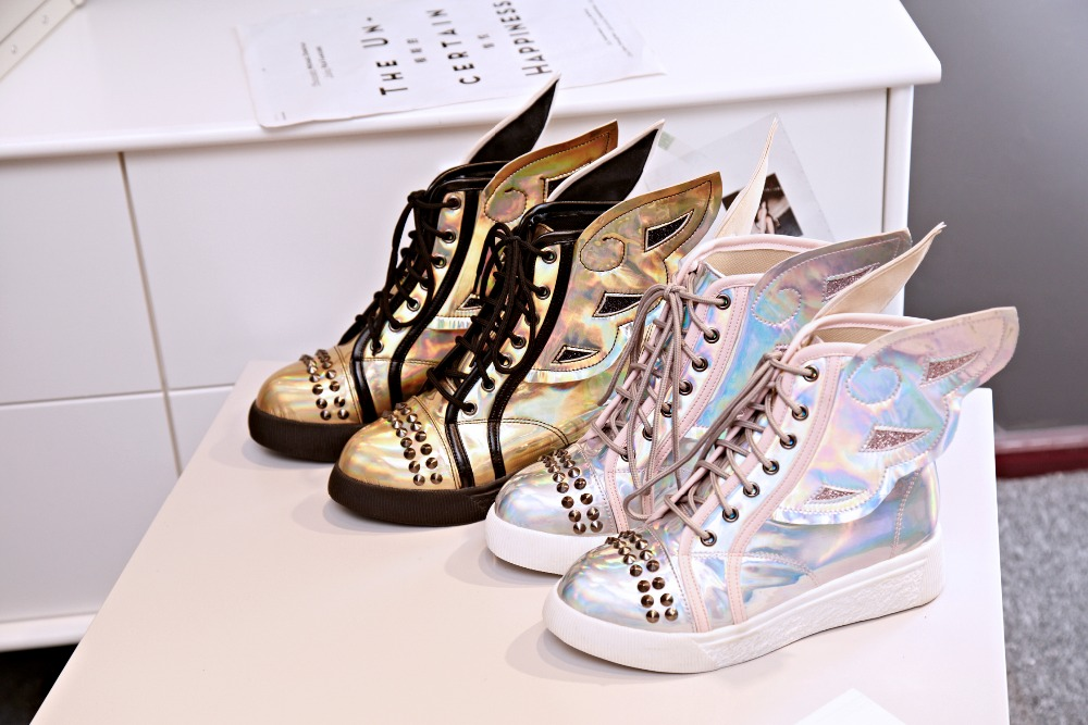 stylish women ankle boot elastic band round toe flat boots bootie wings fashion shoes woman Plus size customized