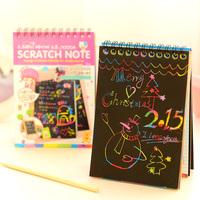 Scratch note Black cardboard Creative DIY draw sketch notes for kids toy notebook zakka material Escolar School Supplies 6626