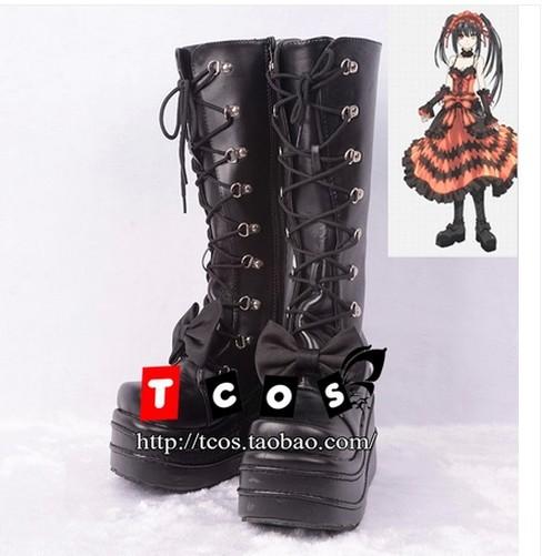 Фотография DATE A LIVE Kurumi Tokisaki Anime Cosplay Costume Black Boots Shoes