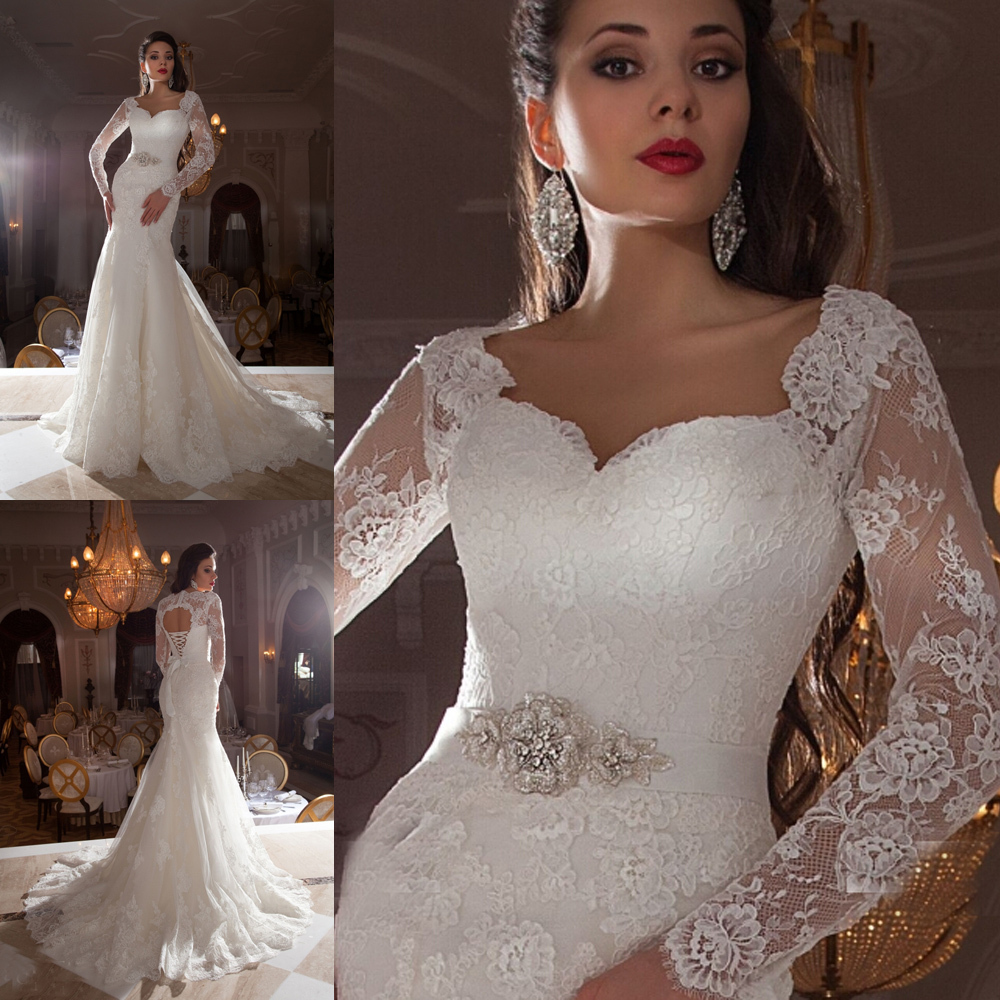 2015 Vintage Lace Bridal Dress Long Sleeve Mermaid Wedding