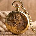 Classic Golden Phoenix Case Hollow Automatic Mechanical Roman Numerals Dial Pocket Watch Chain Luxury Steampunk Men