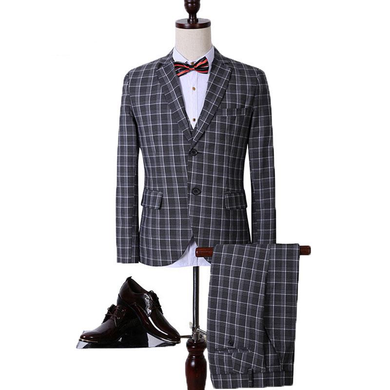 Korean Style Men suit 2015 Business plaid suit 3 piece suit mens suits wedding groom suit blaser men Terno masculino slim 260R