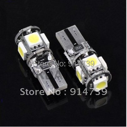 Free Shipping 20pcs/lot T10 Canbus W5W 194 5050 SMD 5 LED Error Free White Light Bulbs