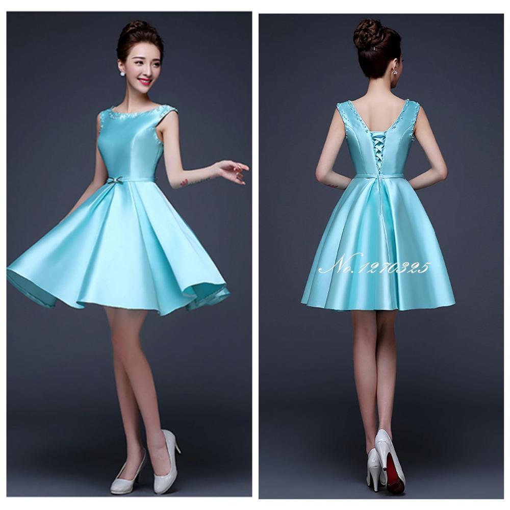 Vestido De Madrinhas 2016 Ice Blue Bridesmaid Dresses Satin New Convertible Mini Short