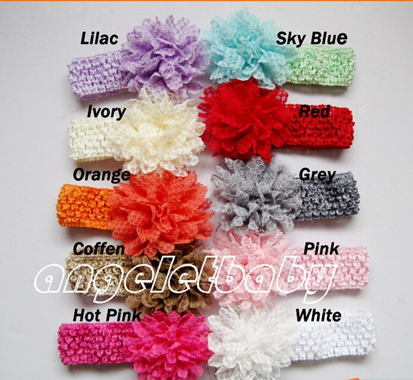 40pcs girl Headwear Head Flower Hair Accessories lace Mesh Fabric flower bow with crochet headbands stretchy weave head GZ7404(China (Mainland))