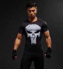 半袖 3D Tシャツ男性 Tシャツ男性クロスフィット Tシャツキャプテンアメリカスーパーマン tシャツ男性フィットネス圧縮シャツパニッシャー MMA(China)