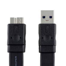 0.6M High quality USB 3.0 Cable A Male to USB 3.0 Micro B Flat Male Cable for Samsung Note3 S5 Thinkpad 8 SSD Free Shipping