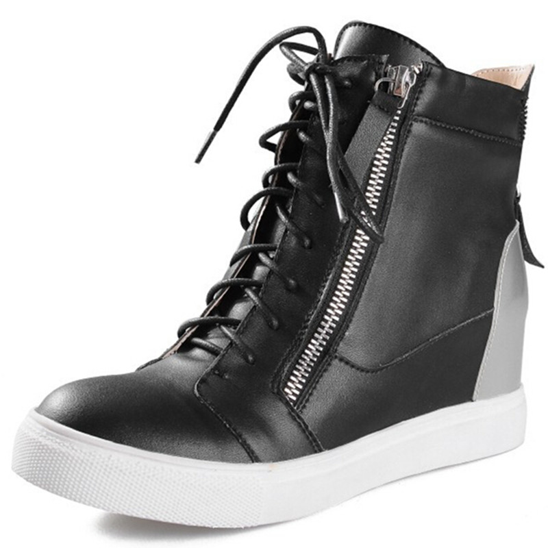 Brand Full grain leather Women &amp; Men sneakers genuine leather zipper lace-up cow fashion Height Increasing ladies casual shoes<br><br>Aliexpress
