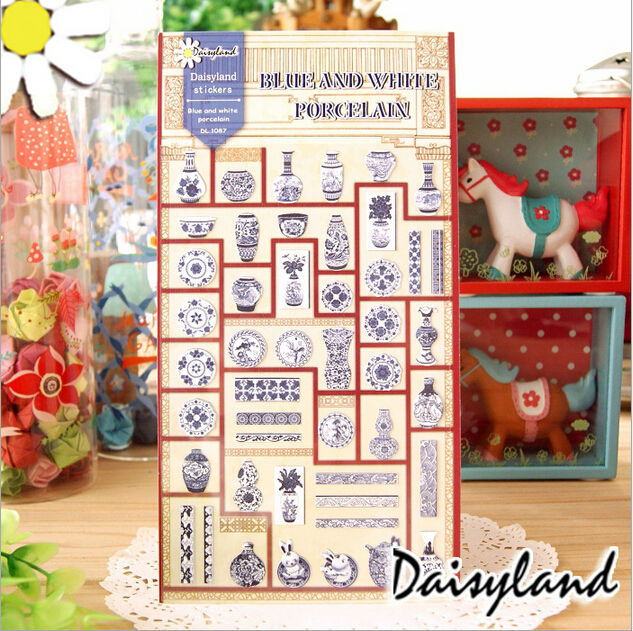 4Sets / lot New Vintage Blue and white Porcelain paper sticker/ DIY Multifunction note label/sign Post No.0179(China (Mainland))