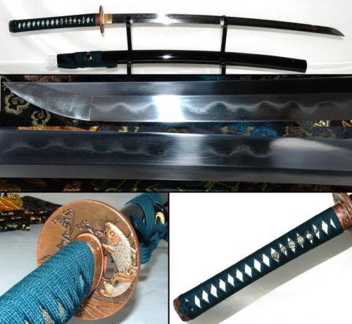 Clay Tempered Folded Steel Katana Sharp Blade Brass Tsuba Full Tang sword #807(China (Mainland))
