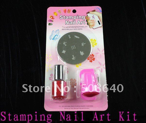 4 in 1 DIY Stamping Nail Art Kit Stamps + Scrapers+Plate+Polish For FingerNail Beauty Desgin Tools Products Wholesale 109