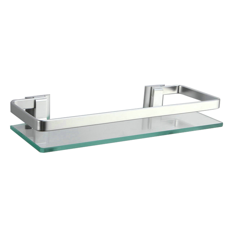Kes A4126a Aluminum Bathroom Glass Rectangular Shelf Wall Mounted Silver Sand