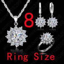 Neue Heiße Mode SunFlower Frauen Zirkonia 925 Sterling Silber Anhänger Halsketten Ohrringe Ringe Sets Für Hochzeit Schmuck(China)