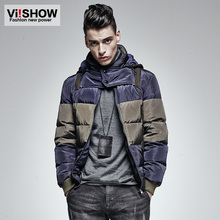 Viishow Winter Parkas Men 2015 Brand Duck Down Jacket Men Outdoor Sport Warn Striped Hoody Jacket Coat For Birthday Gifts