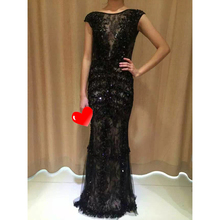 1016M MYEDRESSHOUSE Deep V Back Black Sexy Long Evening Dresses Crystal Beading Embroideried Black Sexy Dress Mon of Bride(China (Mainland))