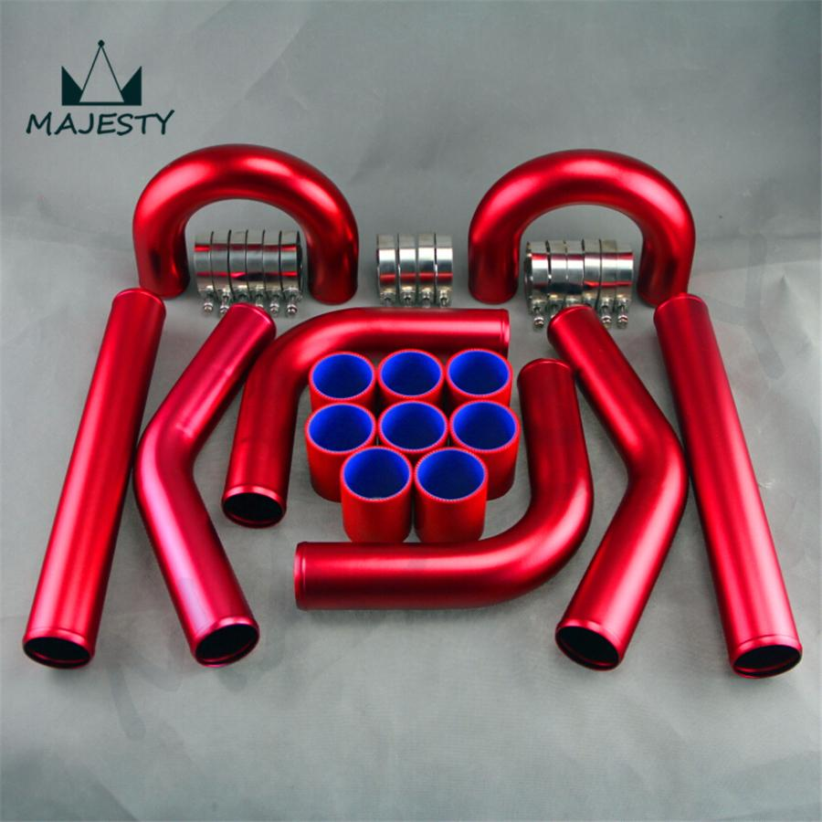 UNIVERSAL 2 51MM TURBO BOOST INTERCOOLER PIPE KIT 8 PCS Aluminum PIPING red<br><br>Aliexpress