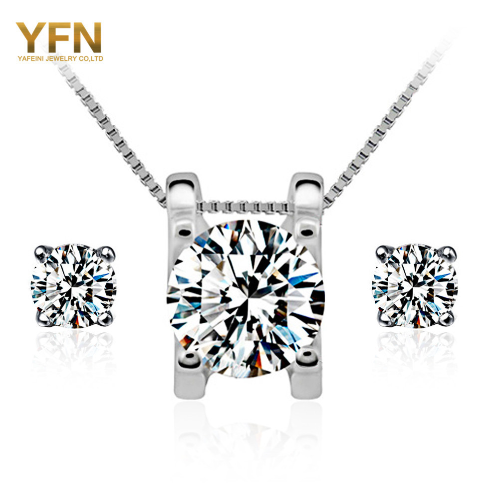 Wedding Accessories 2015 New 925 Sterling Silver Set For Women Top Quality 6MM Cubic Zircon Pendant Necklace and Earrings(China (Mainland))