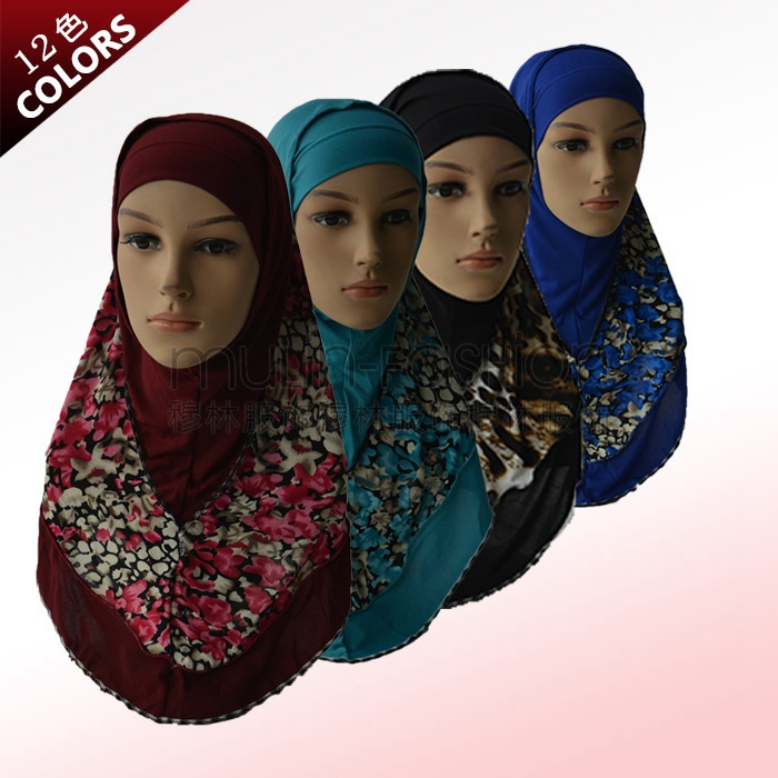 2015 Muslim hijab islamic hijab inner cap fashion autumn winter national style patterened hijabs 2 pieces for women WL2476(China (Mainland))
