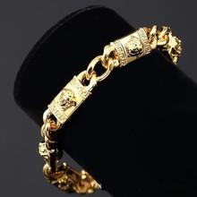 European 18k Real Gold Filled Hip Hop Luxury Gilt Head Pattern Mens Bracelet Long Punk Statement Bracelet For Boys(China (Mainland))
