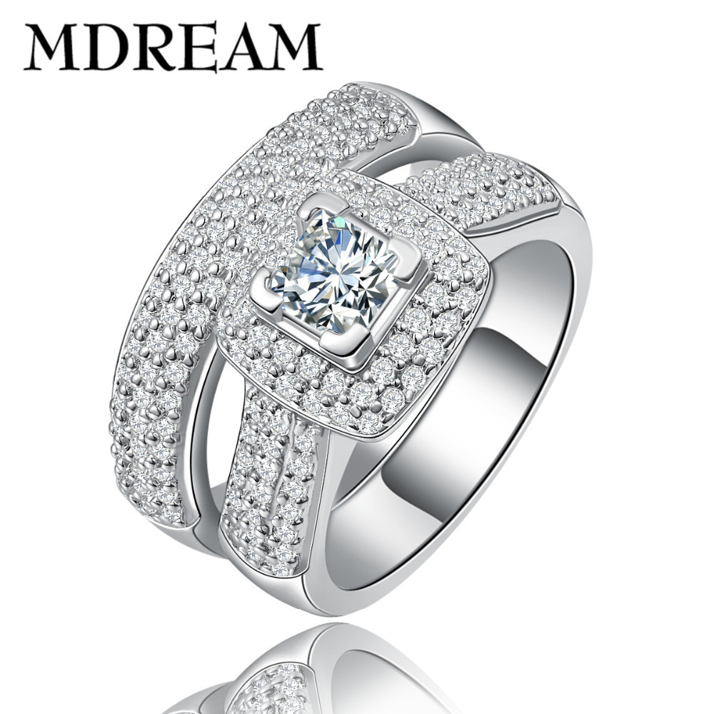 wholesale silver double ring for women gold plated on AAA Zircon for party couple rings jewelry Size 6 7 8 LSR149 MDREAM(China (Mainland))