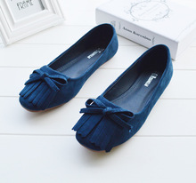 A new autumn round flat suede fringed Korean Bow Shoes 35 39 code