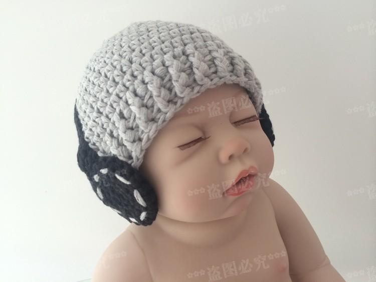 Crochet Baby Boy Hat, Headphone Beanie grey/black Handmade Hat newborn photography props 100% cotton - Mary handmade shop store