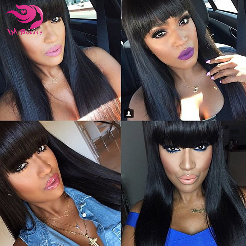 7A Full Lace Wig With Bangs Virgin Brazilian Full Lace Human Hair Wigs For Black Women Straight Lace Front Wigs With Baby Hair<br><br>Aliexpress