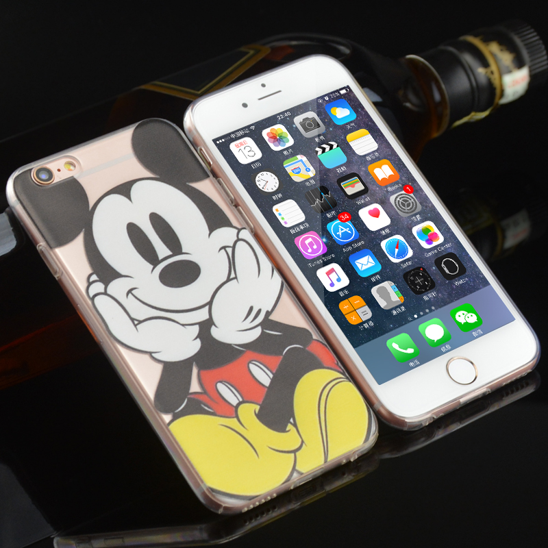 New Cartoon Lovely Mickey Minnie Couples Plastic phone cases for iphone 6 6S Plus coque with dust plug back covers free shipping(China (Mainland))