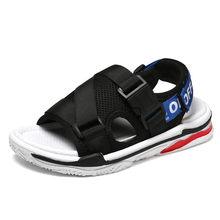 בני סנדלי קיץ סניקרס ילדים נעלי תינוקות בני חוף סנדלים מקרית אופנה רך שטוח נעלי שחור כחול לנשימה ילדים(China)