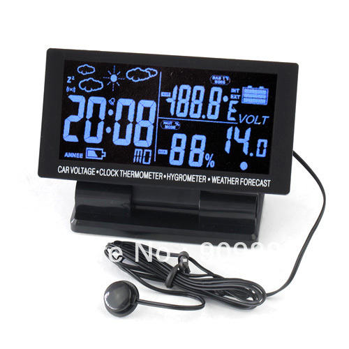 12V Large LCD 4in1 Digital Car Thermometer Hygrometer Weather Forecast Voltage Clock Alarm Snooze With Package FreeShipping(China (Mainland))