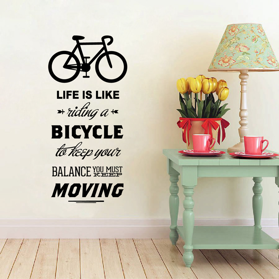 Life is like riding a bicycle quote bike sport diy vinyl for Life is good home decor