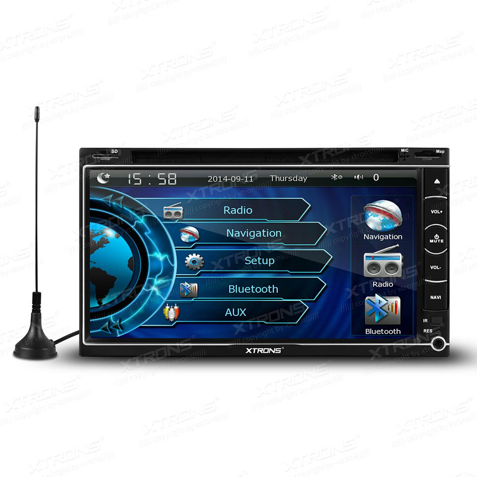 6.95 2 DIN Car DVD Player GPS Navigator Built-in DVB-T MPEG-4 TV Touch Screen Bluetooth Audio Turntable UI Sub FM Radio Stereo<br>